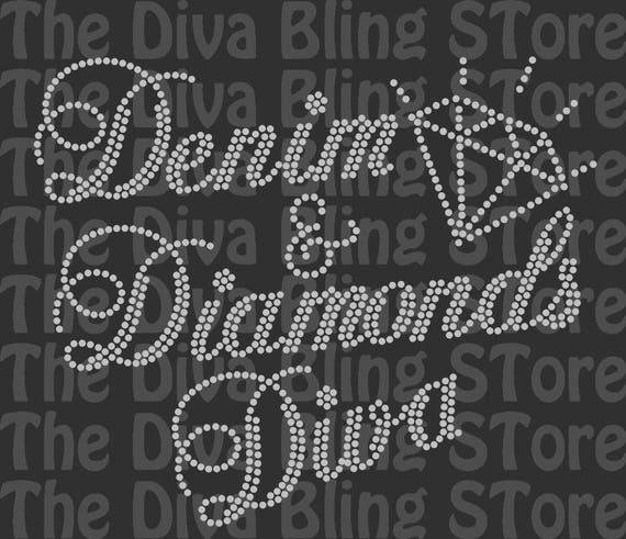 Denim And Diamonds Diva Rhinestone Svg File