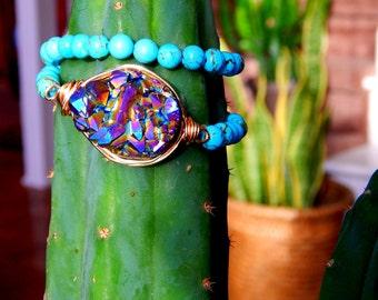 Super Nova   Rainbow Druzy Wrap Stretch Bracelet