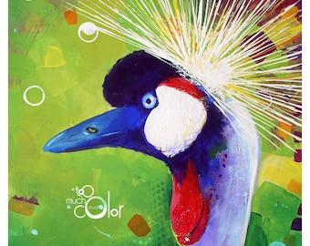 """Crowned Crane - Original painting, one of a kind, animal, bird, colorful, traditional painting, acrylic, heavy paper 8.5""""x11"""""""