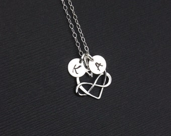 Monogram Mother's Day Heart Charm Necklace, Infinity Initial Necklace, Mother of the Bride Sterling Silver Necklace, Infinity Pendant