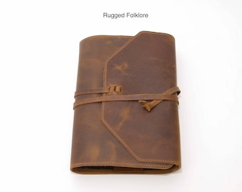 Leather Bible Cover - XL with Adjustable Wrap. Handcrafted with Purpose in the USA.