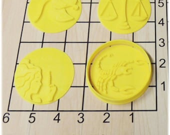 12 Zodiac Astrology Signs Shaped Cookie Cutter and Stamp Set #1168