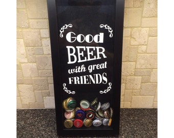 """Good Beer with Great Friends - Bottle Cap Holder - Shadow Box (6"""" x 14"""") - Vinyl Decal Gifts, Home Bar Accessories"""