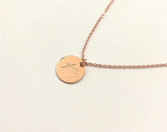Rose Gold initial Necklace, Personalized gift, Rose Gold Letter Necklace, Cursive Initial Necklace, Initial charm, thin Disc, 15mm disc