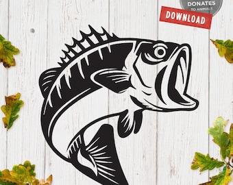 Fishing SVG | Bass Fish SVG | Sea Bass SVG | Bass Fish Cut File for Cricut | Fishing Clipart | Father's Day Svg Fish Clipart Fisherman Svg