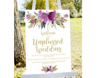 Unplugged wedding sign, unplugged sign, unplugged ceremony no phones sign printable unplugged sign, INSTANT DOWNLOAD, printable wedding sign
