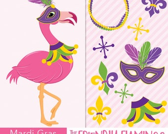 Mardis Gras flamingo clip art, pink party flamingo clipart, fat tuesday celebration, purple mask costume, fleur-de-lis digital PNG (CL048)