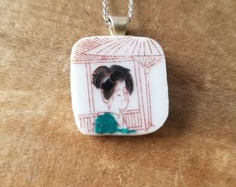 Vintage Nippon Geisha Girl dinner plate saucer pendant necklace