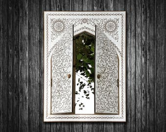 """Big Mirror """"Istanbul"""" with doors (wooden)  - engraved, 24"""" x 17,80"""" (inches)"""