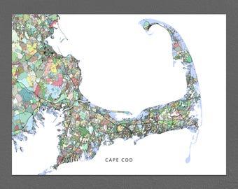 Cape Cod Map, Cape Cod Art City Map Print, Street Art Map, Massachusetts