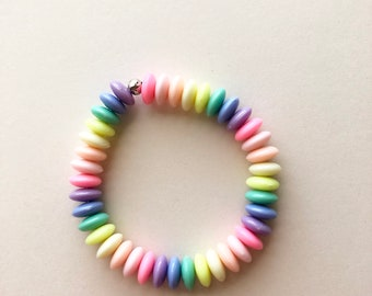 Rainbow Candy Bracelet, Fairy Kei Bracelet, Gifts For Teens, Pastel Jewelry, Kawaii Bracelet, Pastel Goth, Fairy Kei Jewelry