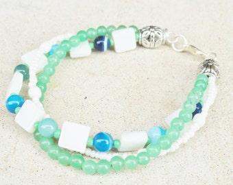 SALE Ocean Blue Green Beaded Twisted Mother of Pearl Aventurine Rolling Wave Bracelet By Distinctly Daisy