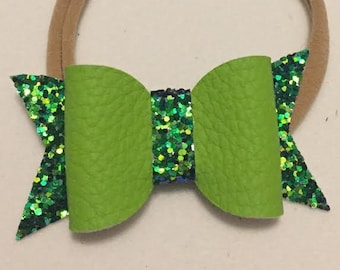 Two Tone Green Glitter Bow