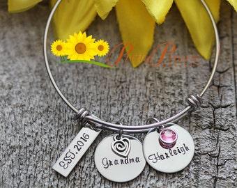 Grandma Bangle Bracelet - Nana Personalized Bracelet - Gift for Grandmother - Hand Stamped Adjustable Bangle - Children's Name Bracelet