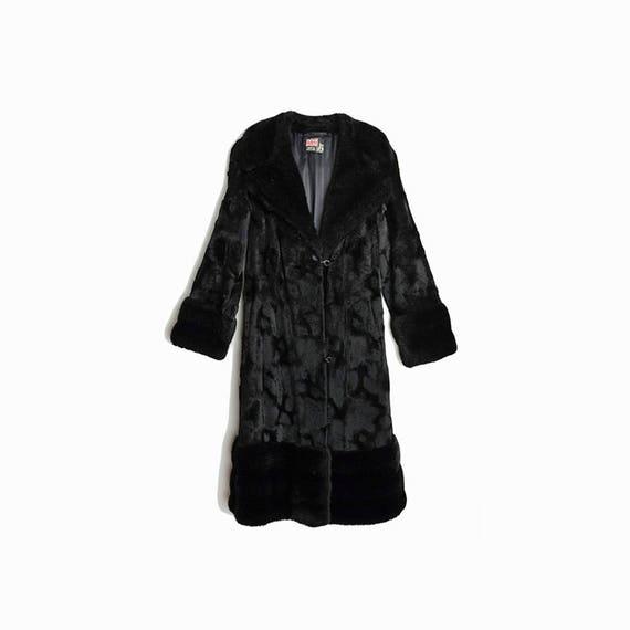 Vintage 70s Penny Lane Coat / Black Faux Fur Coat / Long Black Coat / Rock Star Coat / Made in England - women's small