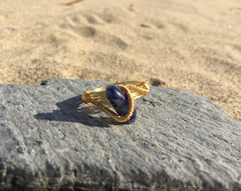 Size O Sodalite Gemstone wire wrapped ring