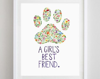 Paw Print for Dog Lovers Floral Watercolor Art Print