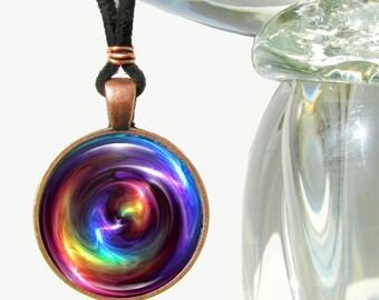 Chakra Necklace, Reiki Swirl Energy Pendant Necklace, Rainbow Jewelry