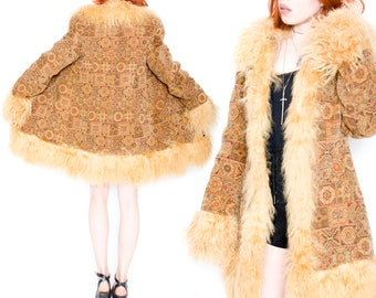 90s Does 70s Vintage Tapestry Mongolian Shearling Penny Lane Almost Famous Fur Coat Jacket Medium