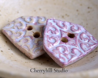 Pair of House Buttons, Ceramic Buttons, Sew on Buttons, House Buttons, Stoneware Buttons, Unique Buttons, Buttons, Haberdashery