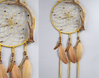 Deer Antler Dream Catcher, Bone Dreamcatcher, Rustic Dream Catcher, Native Style Dream Catcher, Beige Dream Catcher