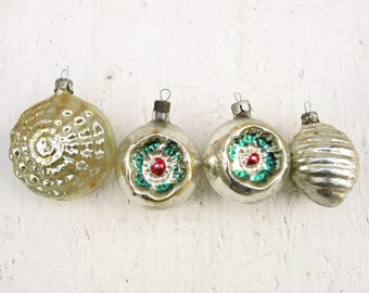 Vintage Christmas ornament New Year's glass toys Christmas decoration Glass Ball Silver Gold - set of  - t11