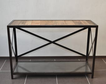 Console solid wood and industrial metal