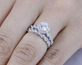 925 Sterling Silver Halo CZ Wedding Engagement Ring Set Women's Size 3-14 Ss1559