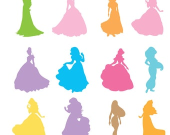 Disney Princess Svg, Disney Princesses Silhouettes Svg, Dxf, Eps , Png Cutfiles, Disney princess files for Cricut, Silhouette cameo