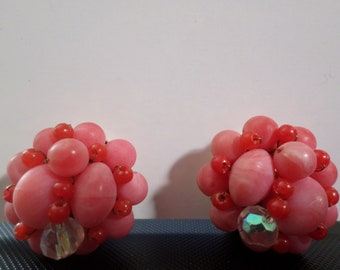 Vintage Costume Jewelry Clip-on Earrings Faux Pearl and Other Beads Rose Colored Cluster