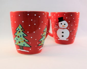 Hand painted coffee mugs with snowmen and Christmas trees, holiday coffee mugs, set of 2 ready to ship