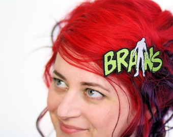 Brains Hair Clip, Zombie Brains, Toxic Green and White- Black FRiday Cyber Monday