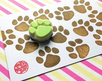 paw print stamp | dog paw | cat paw | woodland animal rubber stamp | birthday scrapbooking | diy gift wrapping | hand carved by talktothesun