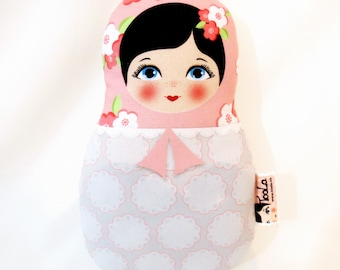 Babushka matryoshka softie plush doll, Small, stuffed matryoshka