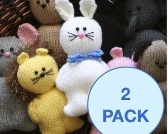 Chubbies - 2 pack animals and people - INSTANT DOWNLOAD PDF Knitting Pattern