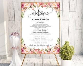 Printable Wedding Program Board Sign Template, Editable Pink Floral Program Poster, DIY Welcome Sign, 3 Sizes Instant Download PDF #102