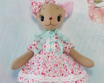 Rag doll Textile doll handmade Cat art rag doll Cat plush interior stuffed animal Cute stuffed animal Cloth art doll animal Ragdoll