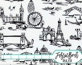 BLACK & WHITE TRAVEL Fabric by the Yard Fat Quarter Paris Eiffel Tower London Fabric 100% Cotton Quilt Fabric Apparel Fabric Yardage a3-23