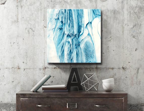 ICE SERIES #1009, Modern Blue Painting, Artist-Signed, Abstract Giclee Wall Art Print, Home Decor, Contemporary Art, Falls, Snow, Nature