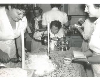 """Vintage Photo """"Cake & Coffee"""" Kitchen Klatch Coffee Pot Caterers Candles Found Vernacular Photo"""