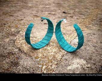 Hoop earrings in Turquoise coton fabrics