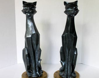 Modern Cubist Black Cat Statues - Universal Statuary Corp - Vintage Halloween Decorations - Mid Century Home Decor