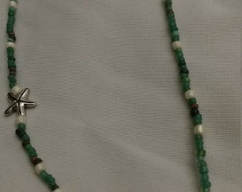 Starfish Inspired - Green Glass Beads Necklace - Perfect Gift