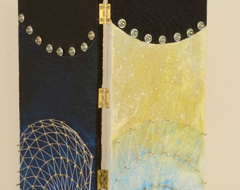 All in a Dream:  acrylic on wood panel, assemblage art, visionary art, diptych panels, wall or shelf art, sci-fi, salvaged art, upcycled