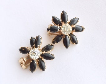 Black Rhinestone Flower Earrings Cluster Clip On Vintage Fashion Jewelry
