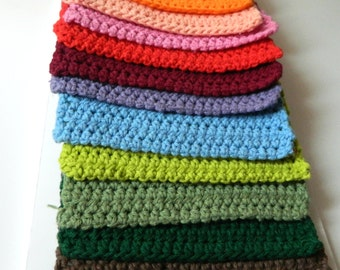 Crocheted Cotton Kitchen Dishcloth: 8 inch square cleaning cloth, over 36 colors, , Red, green, white, orange, yellow, black, blue, Purple