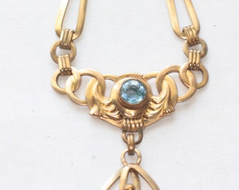 Art Nouveau Style Blue Faux Gemstone Choker Necklace Gold Filled Vintage Special Occasion