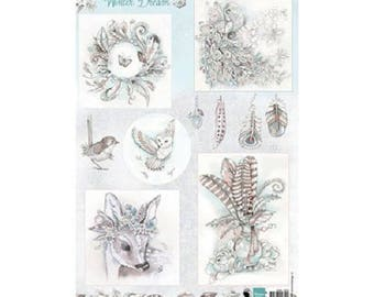 Decoupage Image cutting, 12 images and decor, Winter dream, shabby, Marianne Design, scrapbooking, cardmaking, crafting