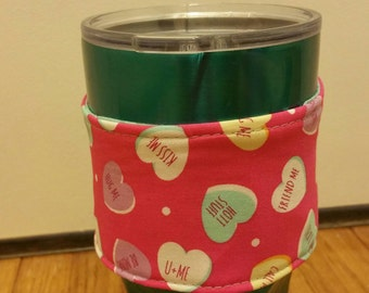 Valentine day print-mug cozy -coffee wrap- valentine's day gift
