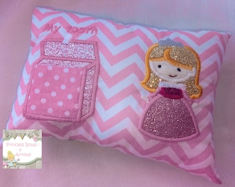 Girls princess PERSONALIZED tooth fairy pillow